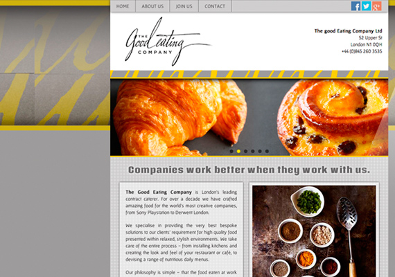 Graphic design and development of an html+css responsive website with PHP forms, slideshows and lightbox galleries, for a leading catering Company based in London - UK. <a href='http://www.aradeum.com/good/index.htm' target='_blank'>www.goodeatingcompany.com</a>
